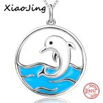 New arrival 925 sterling silver cute animal dolphin pendant chain necklace with enamel diy fashion <b>jewelry</b> <b>making</b> women gifts