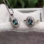 Natural blue sapphire stone wedding jewelry sets natural gemstone ring necklace <b>earrings</b> S925 <b>silver</b> Elegant Fashion Round