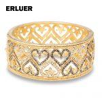 Women Wedding <b>Accessories</b> Dubai Gold Color Fashion <b>Jewelry</b> Heart Bracelet Bridal Rhinestone Crystal Big Cuff Bracelets Bangle