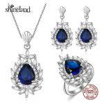 Shineland Trendy Water Drop Wedding Jewelry Sets Luxury 925 Sterling <b>Silver</b> Zirconia Pendant Necklaces Rings <b>Earrings</b> for Women