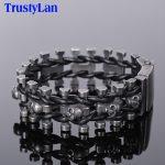 TrustyLan Retro Black Stainless Steel Skull Men's Bracelet For Men Punk Rock Chain Leather Bracelets Hip-hop Armband <b>Jewelry</b>