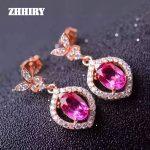 ZHHIRY Natural pink Topaz Earring Genuine Solid 925 <b>Sterling</b> <b>Silver</b> Real Gem Earrings Women Stone Fine <b>Jewelry</b>