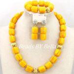 Yellow Beads <b>Jewelry</b> Set African Dubai Lady Party Gift Set Wedding Bridal <b>Necklace</b> Bracelet Earrings Set Free Shipping ABY254