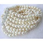 Charming white fresh water pearl 8 rows 6-7mm Round loose beads <b>making</b> jewlry bracelet 7.5 BV21
