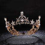 Sparkling Crystal Star Round Tiara Gold Rhinestone Pearl Queen Crown <b>Wedding</b> Prom Pageant Head Ornaments Bridal <b>Jewelry</b> CR106