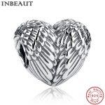 INBEAUT 925 Sterling Silver Heart Angel Wings Charm for DIY Bead Bracelet Chain Women <b>Jewelry</b> <b>Making</b> Beads fit Pandora Bracelets