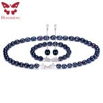 Natural Black Pearl <b>Jewelry</b> Sets For Women,<b>Fashion</b> <b>Jewelry</b> Dangle Earrings&Bracelet&Necklace,Rice Shape 8-9mm Pearl Star Zircon
