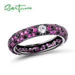 SANTUZZA Silver Rings For Women 925 Sterling Silver Natural Black Pink Stones Fashion Round Rings for Ladies Party <b>Jewelry</b>