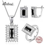 Shineland Fashion Elegant Rectangle Black Cubic Zirconia Pure 925 Sterling <b>Silver</b> Jewelry Sets For Women Necklace/<b>Earring</b>/Ring