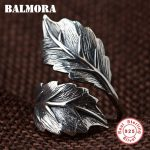 BALMORA 100% Real 925 Sterling Silver <b>Jewelry</b> Vintage Leaf Rings for Men Male High Quality Silver Ring <b>Jewelry</b> Anillos SY22071