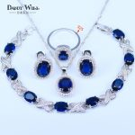Blue Zircon Costume <b>Silver</b> 925 logo Jewelry Sets Women Pendant&Necklace Ring Earrings With Natural Stones <b>Bracelets</b> Jewelery