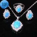 Glittering Blue Fire Opal Attended By Crowd Fashion 925 Sterling <b>Silver</b> Jewelry Sets <b>Earrings</b> Pendant Ring Size 6 7 8 9 S8633
