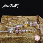 [MeiBaPJ] European and American S925 Pure <b>Silver</b> Set AAA Zircon Square Yellow Stone&Pink Stone Ring&<b>Earrings</b>&Bangles Set Jewelry