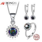 HONGYE 2018 Hot Sale Color Fashion Jewelry Set 925 Sterling <b>Silver</b> Cubic Zircon Necklace&<b>Earring</b>/Rings Women Wedding Jewelry