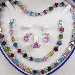 Prett Lovely Women's Wedding Multicolor Zircon Link Bracelet/ Earrings /Ring / Necklace Set+ Gift Box 5.23