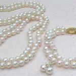 real silver-<b>jewelry</b> Women's Wedding 2 Rows White 8mm Akoya Cultured Pearl Necklace Bracelet Earring Set AAA01