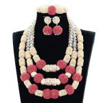 Splendid Nigerian Wedding Coral Statement <b>Jewelry</b> Set <b>Handmade</b> Coral Beaded African Necklace Bracelet Earrings Set Gold GA511