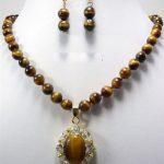 Women's Wedding Real Tigereye Tiger's Eye Opal Crystal Pendant Necklace Earrings A032 5.27 -silver-<b>jewelry</b> real silver