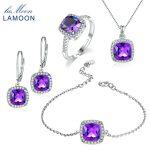 LAMOON 100% Natural Purple Amethyst 925 Sterling <b>Silver</b> Jewelry Jewelry Set S925 For Women V001-1