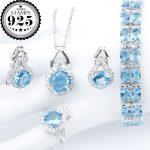 New <b>Silver</b> 925 Wedding Jewelry Sets Blue Zircon Pendant Necklace <b>Bracelets</b> Clips Earrings Rings For Women Set Jewellery Gift Box