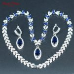 Blue <b>Silver</b> Color Wedding Jewelry Necklace <b>Earrings</b> Luxury White Cubic Zirconia Bridal Jewelry Sets For Women