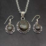 Vintage Black Labradorite Swan 925 Sterling Silver Earrings Pendant Special Sets Pretty Party Jewellry Gift NY1225