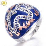 HUTANG Created Blue Sapphire Enamel Solid 925 <b>Sterling</b> <b>Silver</b> Ring Chinese Element Dragon Fine <b>Jewelry</b> 11.11