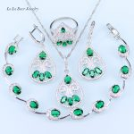 L&B Russian Fashion Style Green Created Emerald White Crystal <b>Bracelet</b> <b>Silver</b> Color Jewelry Sets For Women Party & Wedding