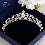 Fashion Pearls Zircon Leaves Crowns Tiaras for Brides Silver Crystal <b>Wedding</b> Hairbands Bridal Hair Accessories Prom <b>Jewelry</b>