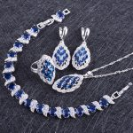 Blue Zircon Costume <b>Silver</b> 925 Jewelry Sets Women <b>Bracelets</b> Earring With Stones Pendant&Necklace Rings Set Jewelery Gift Box