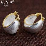 V.YA Retro 925 Silver Hoop Earrings For Women Solid S925 Sterling Silver Vintage Earrings Fine <b>Jewelry</b> High Quality