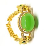 Leopard Rhinestone 18k Gold Plated Women Wedding Jewelry Green Jade Bangle <b>Bracelet</b>