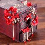Chinese Style Wedding <b>Accessories</b> <b>Jewelry</b> Sets Gold Color Earrings Hairbands Red Beads Flower Bridal Headdress GL-305