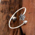 Emith Fla Authentic 925 Sterling <b>Silver</b> Bangle Opening Lotus Seedpod Fashion Jewelry for Women Men Vintage Thai <b>Silver</b> <b>Bracelets</b>