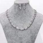 WEIMANJINGDIAN Brand Sparkling Cubic Zirconia CZ Crystal Zircon Flower Necklace and Earring Wedding Bridal <b>Jewelry</b> Sets