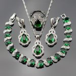 925 Stamp Green Crystal White Zircon Jewelry Sets For Women <b>Silver</b> Color Necklace/Earrings/Ring/Pendant/<b>Bracelets</b> bjs25