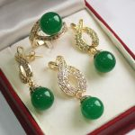 Women's Wedding Hot! beautiful new silver plated + 12mm green stone pendant, earring, , ring set real silver mujer
