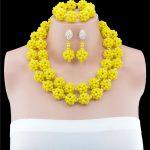 African Brides <b>Handmade</b> Yellow Crystal Beads <b>Jewelry</b> Set Nigerian Wedding Dubai Gold-color <b>Jewelry</b> Set Free Shipping
