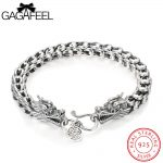 GAGAFEEL Vintage Thai Sterling <b>Silver</b> <b>Bracelet</b> Jewelry Cool Punk Dragon Scales Men Chain For Male 18-22CM Retro Fashion Accesory