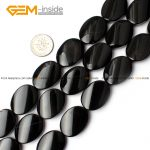 "Gem-inside 13-20mm Natural Twist Twisted Flat Oval Black Agates Stone Beads For <b>Jewelry</b> <b>Making</b> Bracelet 15"" DIY Jewellery"