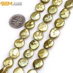 """Gem-inside Natural Coin Freshwater Cultured luster Pearls Beads for <b>Jewelry</b> <b>Making</b> 15"""" Selectable Color DIY <b>Jewelry</b>"""