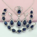WPAITKYS Navy Blue Cubic Zirconia <b>Silver</b> Color Bridal Jewelry Sets For Women Drop Earrings <b>Bracelet</b> Necklace Ring Free Gift Box