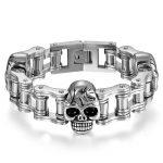 Boniskiss 2017 22MM Mens Sport Wristband Boys <b>Silver</b> Stainless Steel Skull <b>Bracelets</b> Biker Motorcycle Chain <b>Bracelet</b>