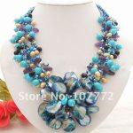 Pearl&Purple &Blue Stone &Crystal&Shell <b>Necklace</b>