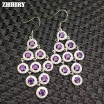 ZHHIRY Genuine Nataural Amethyst Drop Earrings Solid 925 <b>Sterling</b> <b>Silver</b> Earring For Women Fine <b>Jewelry</b> Top Quality Birthstone