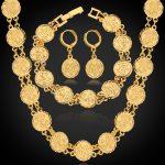 Hot Dubai Gold Color <b>Jewelry</b> Sets <b>Necklace</b> Bracelet Earrings For Women Ethnic Islamic Religion Muslim Allah Coin Set NEH5107