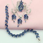 WPAITKYS New Top Blue Cubic Zirconia <b>Silver</b> Color Jewelry Sets For Women Party Necklace Choker Earrings <b>Bracelet</b> Ring Free Box