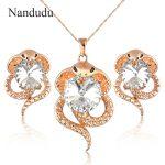 Nandudu Sexy Snake Pendant <b>Necklace</b> Earrings <b>Jewelry</b> Set with Austrian Crystal Wedding Party Fashion <b>Jewelry</b> Gift N1341