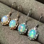 Natural opal gem drop earrings 925 <b>silver</b> natural gemstone earrings Stylish elegant round women party fine gift Earrings <b>jewelry</b>