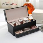 CHOICE FUN Business <b>Fashion</b> Leather <b>Jewelry</b> Watch Display Stand Ring Earring Bracelet Drawer Storage Box